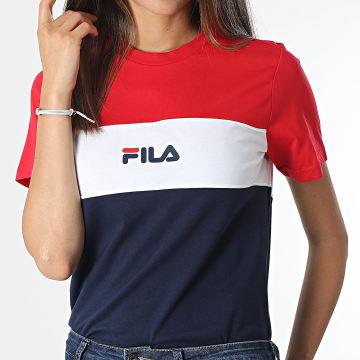 Fila - Tee Shirt Femme Tricolore Anokia Blocked 688488 Rouge Blanc Bleu Marine