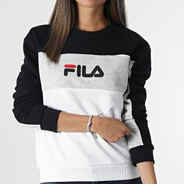 Fila - Sweat Crewneck Femme Tricolore Amina 688489 Blanc Noir Gris Chiné