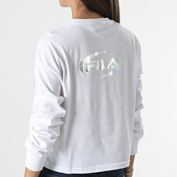 Fila - Tee Shirt Crop Femme A Manches Longues Demanda 689012 Blanc Argenté