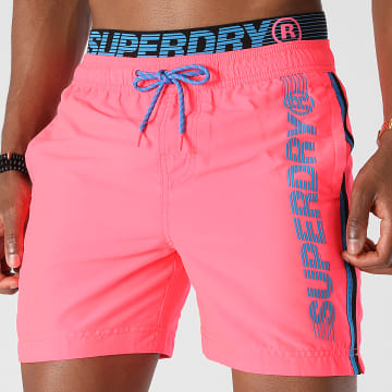 Superdry - Short De Bain A Bandes State Volley M3010010A Rose Fluo