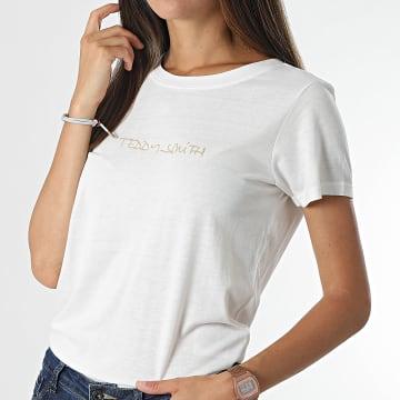 Teddy Smith - Tee Shirt Femme Ticia 2 Blanc Doré