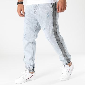 2Y Premium - Jogger Pant Jean A Bandes B6188 Bleu Wash