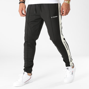2Y Premium - Pantalon Jogging A Bandes 2001 Noir Beige