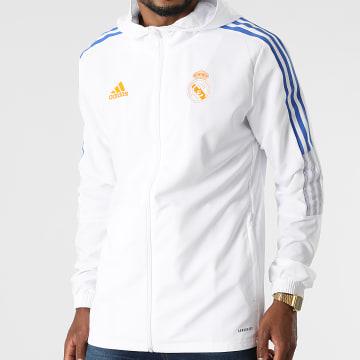 Adidas Performance - Veste Zippée Capuche A Bandes Real Madrid GR4333 Blanc