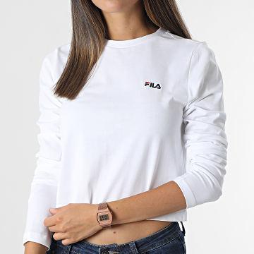 Fila - Tee Shirt Crop Femme Manches Longues Ece 689118 Blanc