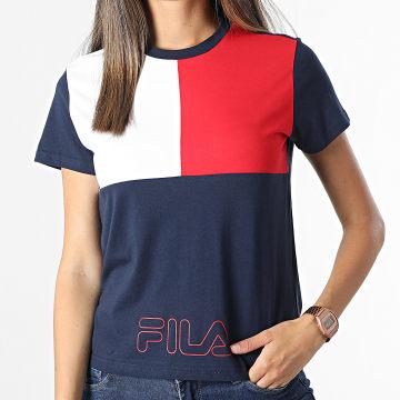 Fila - Tee Shirt Crop Femme Panchali 683437 Bleu Marine Blanc Rouge