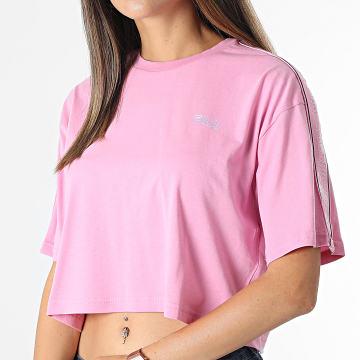 Fila - Tee Shirt Crop Femme A Bandes Mari 683477 Rose