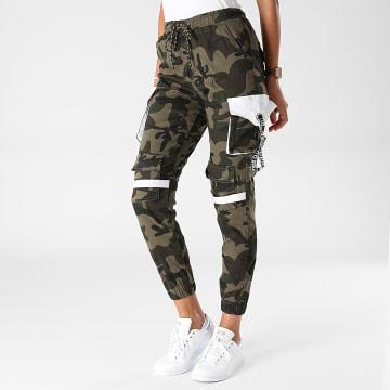 Girls Outfit - Jogger Pant Femme B967 Vert Kaki Camouflage