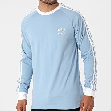 Adidas Originals - Tee Shirt Manches Longues A Bandes 3 Stripes H37777 Bleu Clair