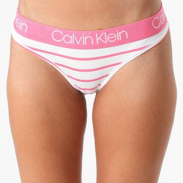 Calvin Klein - String Femme A Rayures QD3751E Blanc Rose