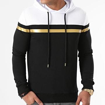 LBO - Sweat Capuche Tricolore Bande Gold 1573 Noir Blanc
