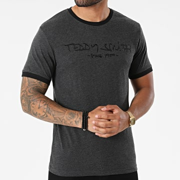 Teddy Smith - Tee Shirt Ringer HL11000014D Gris Anthracite Chiné
