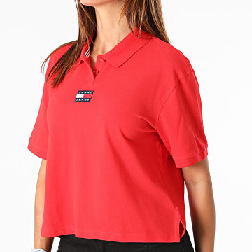 Tommy Jeans - Polo Manches Courtes Crop Femme Center Badge 0347 Rouge