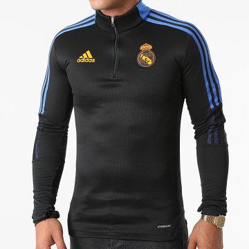 Adidas Performance - Sweat Col Zippé A Bandes Real Madrid GR4340 Noir Bleu Roi