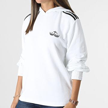 Adidas Originals - Sweat Capuche Femme A Bandes H17952 Blanc
