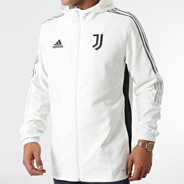 Adidas Performance - Veste Zippée Capuche A Bandes Juventus GR2967 Ecru