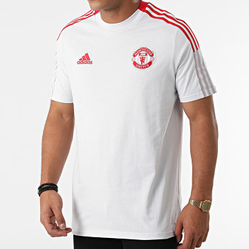 adidas - Tee Shirt A Bandes Manchester United GR3822 Gris Clair Rouge