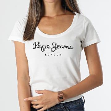 Pepe Jeans - Tee Shirt Femme Pam PL505022 Ecru