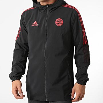 Adidas Performance - Veste Zippée Capuche A Bandes FC Bayern GR0628 Noir