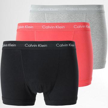 Calvin Klein - Lot De 3 Boxers U2662G Noir Gris Chiné Rouge