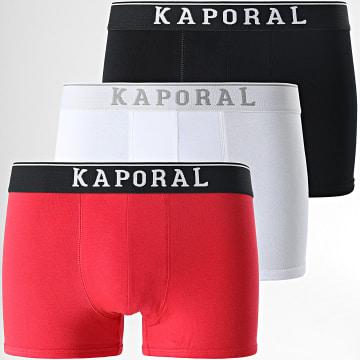 Kaporal - Lot De 3 Boxers Quad Blanc Noir Rouge