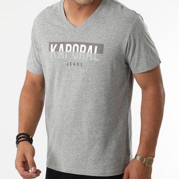 Kaporal - Tee Shirt Col V Robuk Gris Chiné