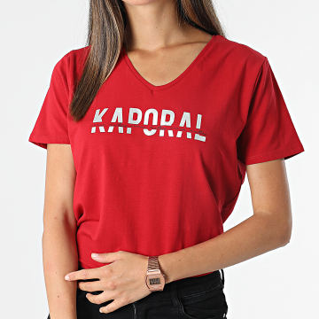 Kaporal - Tee Shirt Femme Col V Dolfi Rouge Argenté