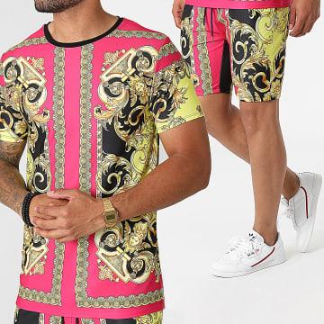 Uniplay - Ensemble Tee Shirt Short Jogging Renaissance ES-51 Rose Noir Jaune