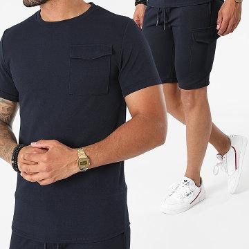 Uniplay - Ensemble Tee Shirt Short Jogging ES-56 Bleu Marine