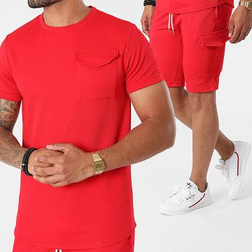 Uniplay - Ensemble Tee Shirt Short Jogging ES-56 Rouge