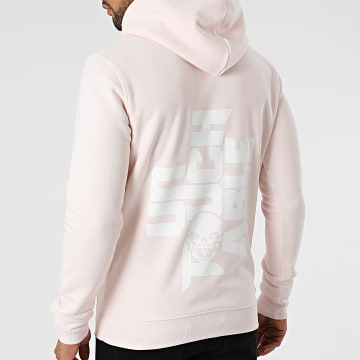 Untouchable - Sweat Capuche Logo Rose Blanc