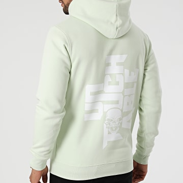 Untouchable - Sweat Capuche Logo Vert Pastel Blanc
