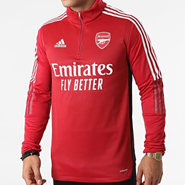 Adidas Performance - Sweat Col Zippé A Bandes Arsenal FC GR4168 Rouge Foncé