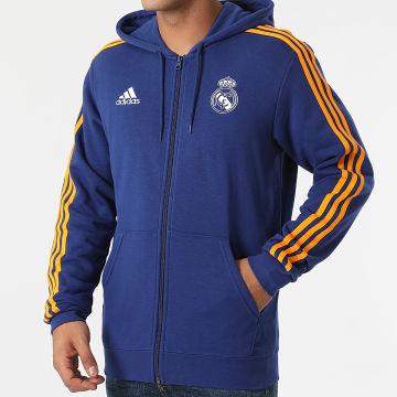 Adidas Performance - Sweat Zippé Capuche A Bandes Real Madrid 3 Stripes GR4241 Bleu Marine
