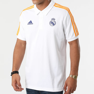 Adidas Performance - Polo Manches Courtes A Bandes Real Madrid 3 Stripes GR4242 Ecru