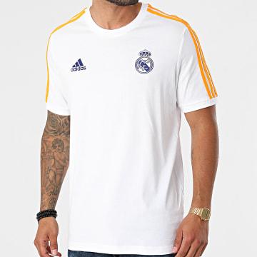 Adidas Performance - Tee Shirt A Bandes Real Madrid GR4245 Blanc Orange