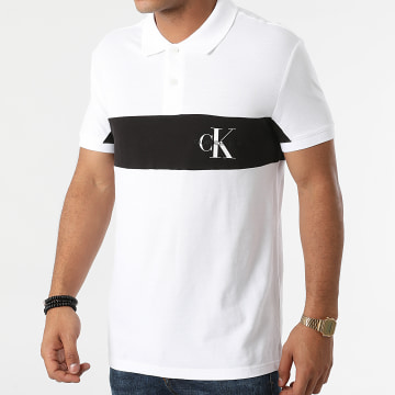 Calvin Klein - Polo Manches Courtes Color Block Logo 8193 Ecru