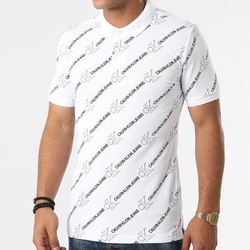 Calvin Klein - Polo Manches Courtes Logo AOP 8194 Ecru