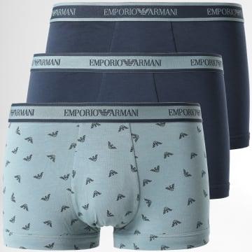 Emporio Armani - Lot De 3 Boxers 111357 1A717 Bleu Marine Gris