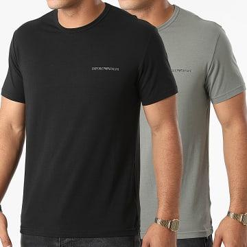 Emporio Armani - Lot De 2 Tee Shirts 111267-1A717 Noir Vert Kaki