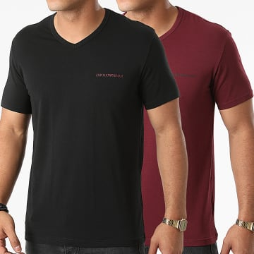 Emporio Armani - Lot De 2 Tee Shirts 111849-1A717 Noir Bordeaux