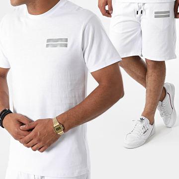 John H - Ensemble Tee Shirt Short Jogging Réfléchissant P2178 Blanc