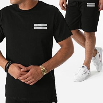 John H - Ensemble Tee Shirt Short Jogging Réfléchissant P2178 Noir