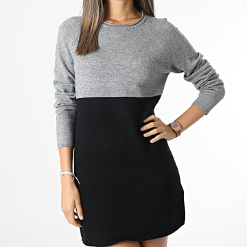 Only - Robe Pull Femme Lillo Gris Chiné Noir
