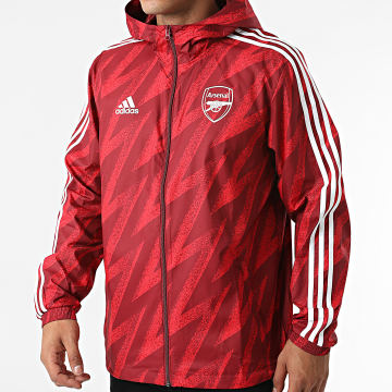 Adidas Performance - Coupe-Vent A Capuche A Bandes Arsenal FC GR4196 Rouge