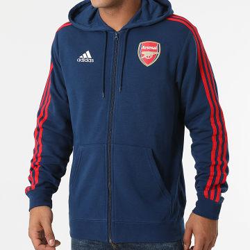 Adidas Performance - Sweat Zippé Capuche A Bandes Arsenal FC 3 Stripes GR4203 Bleu Marine