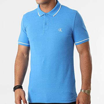 Calvin Klein - Polo Manches Courtes Tipping Slim 5603 Bleu Clair