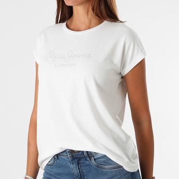 Pepe Jeans - Tee Shirt Femme Strass Bonnie Blanc