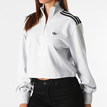 Adidas Originals - Sweat Col Zippé Femme H17960 Gris Chiné