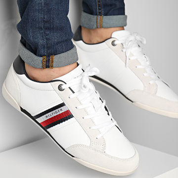 Tommy Hilfiger - Baskets Corporate Material Mix Leather 3741 White